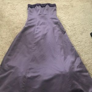 Purple beaded strapless prom homecoming ball gown